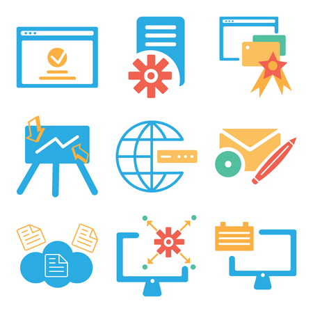 Set Of 9 simple editable icons such as Monitor, Cloud computing, Web de, Internet, Presentation, Browser, File, can be used for mobile, web