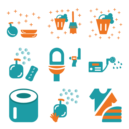Set Of 9 simple editable icons such as Fashion, Soap, Toilet paper, Water heater, Toilet, Bucket, Dishwasher, can be used for mobile, web