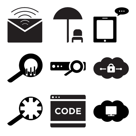 Set Of 9 simple editable icons such as Cloude on computer, Code, Search setting, Cloude, report, statistic, Message phone, Dinner, Mail, can be used for mobile, web