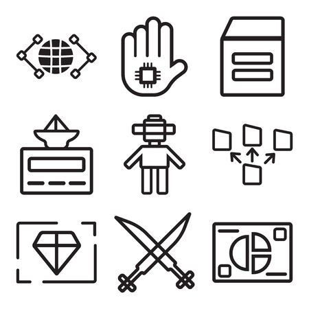 Set Of 9 simple editable icons such as Analytics, Security, Value, File transfer, Android, Laboratory, Warehouse, Cpu, Global, can be used for mobile, web Illustration
