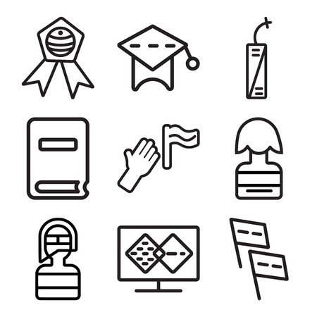 Set Of 9 simple editable icons such as Flags, Merging, Firefighter, Candidate, Protest, Newspaper, Fireworks, Mortarboard, Badge, can be used for mobile, web Illustration