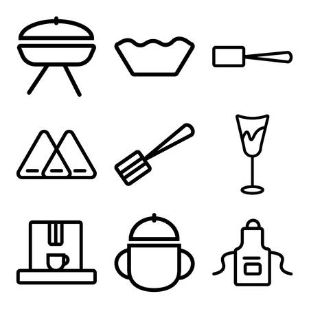 Set Of 9 simple editable icons such as Apron, Bowl, Coffee maker, Glass, Spatula, Napkin, Scoop, Mould, Barbecue, can be used for mobile, web Illustration