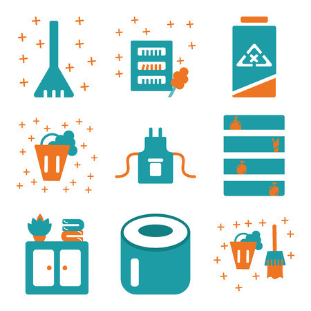 Set of 9 simple editable icons such as bucket, toilet paper, closet, uniform, clean, wardrobe, sweep, can be used for mobile, web. Vektoros illusztráció