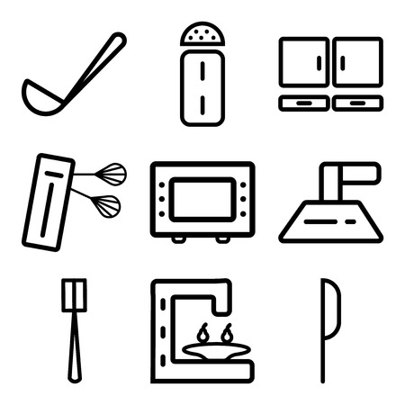 Set of 9 simple editable icons such as knife, coffee maker, brush, extractor hood, microwave oven, mixer, cabinet, salt, ladle, can be used for mobile, web.