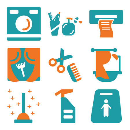 Set Of 9 simple editable icons such as Slippery, Spray, Plunger, Bathtub, Comb, Wipes, Toothbrush, Washing machine, can be used for mobile, web