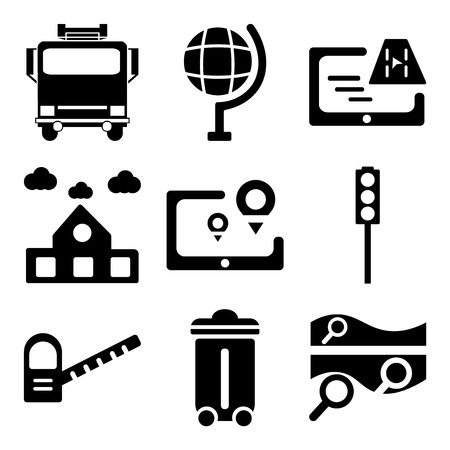 Set Of 9 simple editable icons such as Map, Recycle bin, Toll road, Traffic light, Gps, School, Globe, Fire truck, can be used for mobile, web