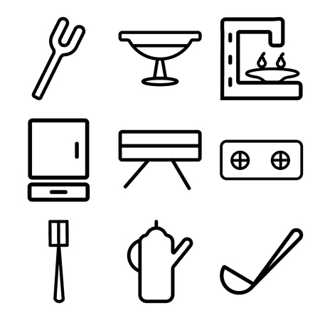 Set Of 9 simple editable icons such as Ladle, Kettle, Brush, Stove, Table, Cabinet, Coffee maker, Platter, Fork, can be used for mobile, web Stock Illustratie
