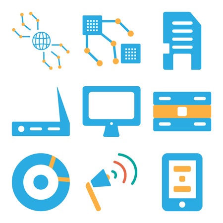 Set Of 9 simple editable icons such as Smartphone, Sound card, Cd, Server, Computer, Wifi, Memory Chip, Internet, can be used for mobile, web Çizim