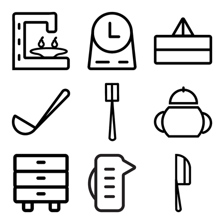 Set Of 9 simple editable icons such as Knife, Measuring cup, Cabinet, Sauce, Brush, Ladle, Juicer, Clock, Coffee maker, can be used for mobile, web