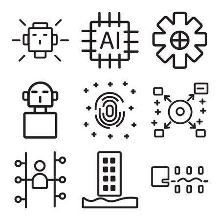 Set of 9 simple editable web and machine icons.