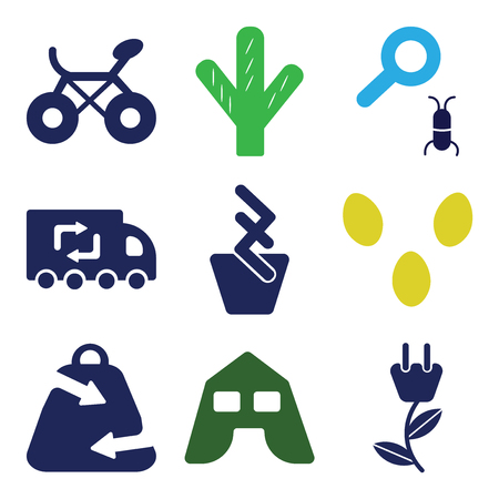 Set of 9 simple editable ecology icons