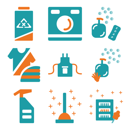 Set Of 9 simple editable icons such as Wardrobe, Plunger, Spray, Soap, Uniform, Fashion, Washing machine, Clean, can be used for mobile, web