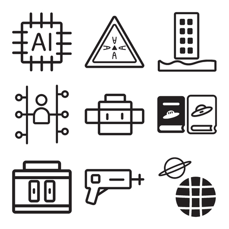 Set Of 9 simple editable icons such as Planet earth, Blaster, Samples, Book, Cyborg, Users, Flood, Brainstorm, Cpu, can be used for mobile, web