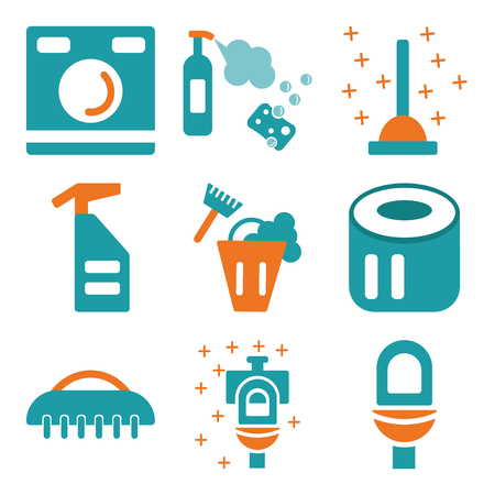 Set of 9 simple editable cleaning icons