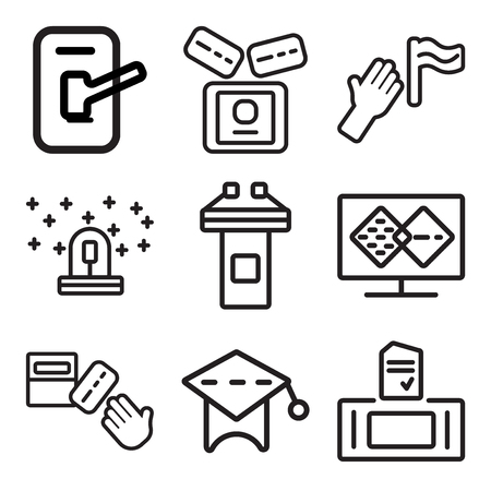 Set Of 9 simple editable icons such as Ballot and other icons set. can be used for mobile and web