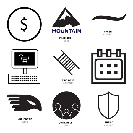 Set Of 9 simple editable icons such as shield, our family, air force, Calendar, fire dept, On, Black swish, pinnacle, USD, dollar, can be used for mobile, web Illustration