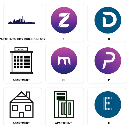 Set Of simple editable icons such as E, Apartment, P, m, D, Z, Apartments, city buildings sky, can be used for mobile, web Ilustração