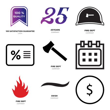 Set Of 9 simple editable icons such as USD, dollar, Black swish, fire dept, Calendar, Percent, 25years, 100 satisfaction guarantee, can be used for mobile, web