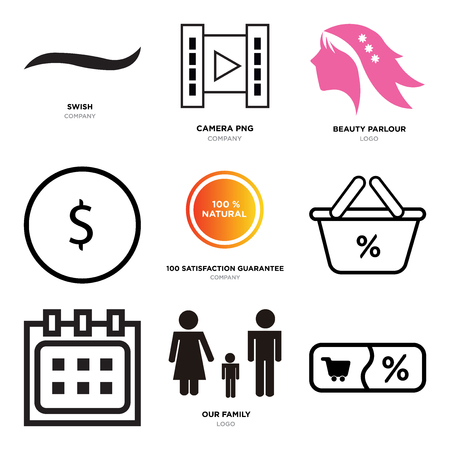 Set Of 9 simple editable icons such as Shopping, our family, Calendar, Discount Percent, 100 satisfaction guarantee, USD, dollar, beauty parlour, camera, Black swish, can be used for mobile, web