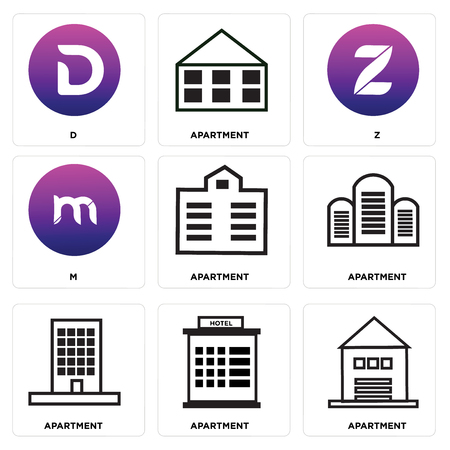 Set Of 9 simple editable icons such as Apartment, m, Z, D, can be used for mobile, web