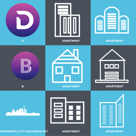 Set Of 9 simple editable icons such as Apartment, Apartments, city buildings sky, B, D, can be used for mobile, web