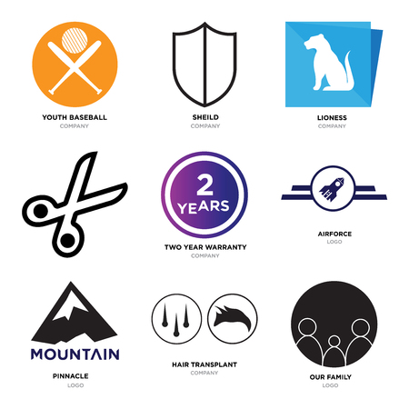 Set Of 9 simple editable icons such as our family, hair transplant, pinnacle, Airforce, two years warranty, Scissors, lioness, sheild, youth baseball, can be used for mobile, web