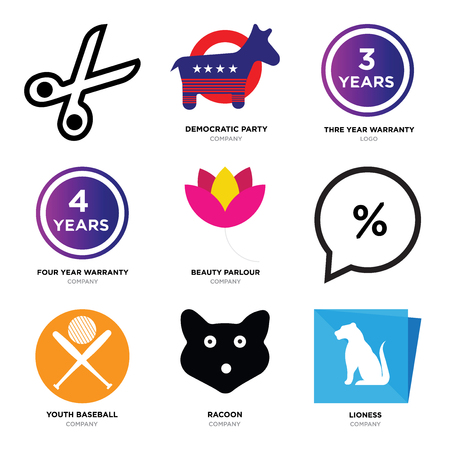 Set Of 9 simple editable icons such as lioness, Raccoons head, youth baseball, Percent in bubble, beauty parlour, four years warranty, three democratic party, Scissors, can be used for mobile, web