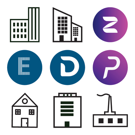 Set Of 9 simple editable icons such as Apartment, P, D, E, Z, can be used for mobile, web