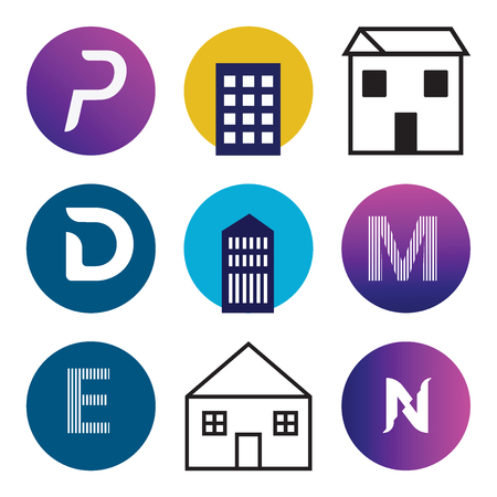 Set Of 9 simple editable icons such as N, Apartment, E, M, D, P, can be used for mobile, web