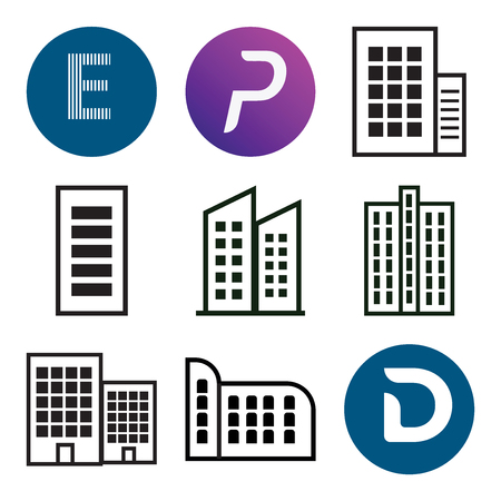 Set Of 9 simple editable icons such as D, Apartment, P, E, can be used for mobile, web.