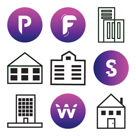 Set Of 9 simple editable icons such as Apartment, W, S, F, P, can be used for mobile, web