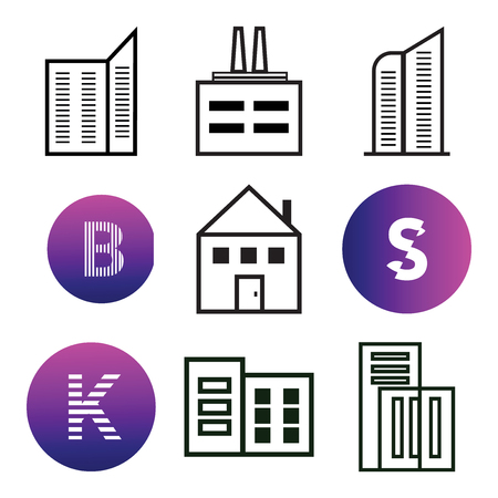 Set Of 9 simple editable icons such as Apartment, K, S, B, can be used for mobile, web