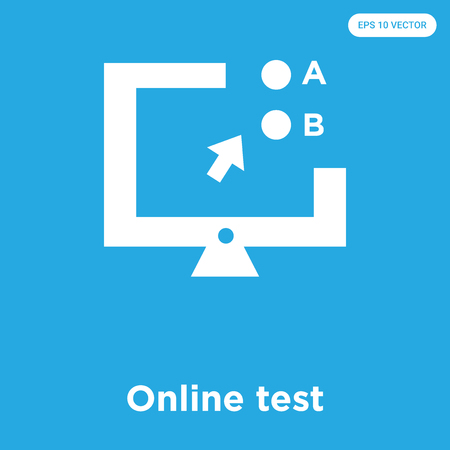 Online test vector icon isolated on blue background, sign and symbol, Online test icons collection