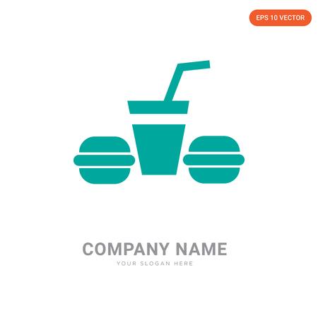Hamburguer & Drink company logo design template, Hamburguer & Drink logotype vector icon, business corporative Illustration