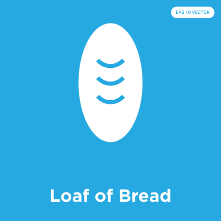 Loaf of Bread vector icon isolated on blue background, sign and symbol, Loaf of Bread icons collection