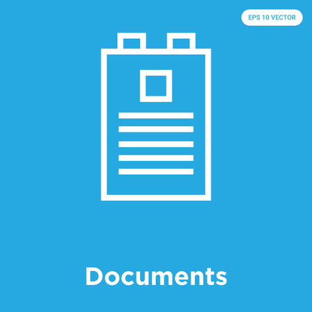 Documents vector icon isolated on blue background, sign and symbol, Documents icons collection Illustration