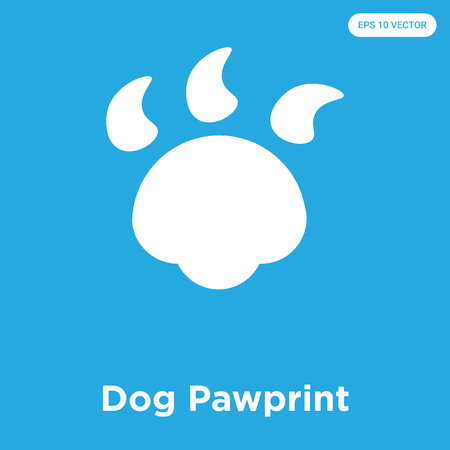 Dog Pawprint vector icon isolated on blue background, sign and symbol, Dog Pawprint icons collection Illustration