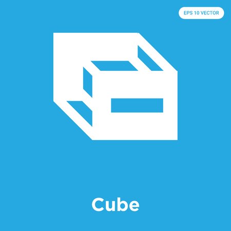 Cube vector icon isolated on blue background, sign and symbol, Cube icons collection