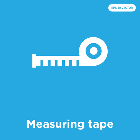 Measuring tape vector icon isolated on blue background, sign and symbol, Measuring tape icons collection Stock Illustratie
