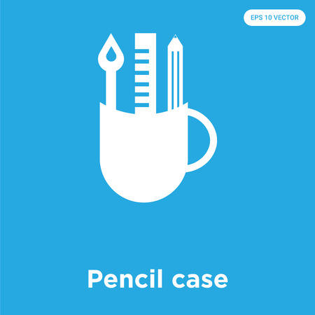 Pencil case vector icon isolated on blue background, sign and symbol, Pencil case icons collection