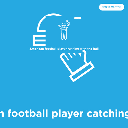 American football player catching the ball vector icon isolated on blue background, sign and symbol, American football player catching the ball icons collection