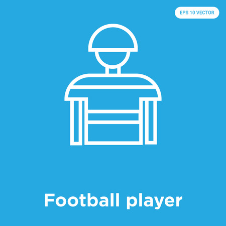 Football player vector icon isolated on blue background, sign and symbol, Football player icons collection