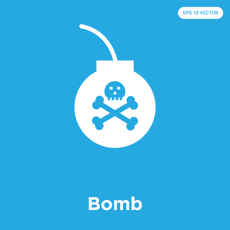 Bomb vector icon isolated on blue background, sign and symbol, Bomb icons collection