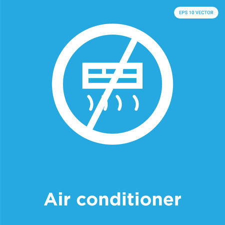 Air conditioner vector icon isolated on blue background, sign and symbol, Air conditioner icons collection