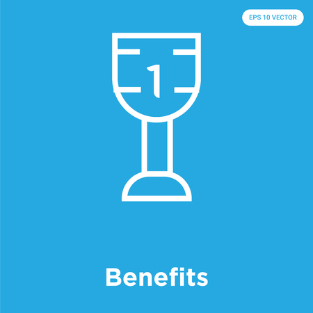 Benefits vector icon isolated on blue background, sign and symbol, Benefits icons collection