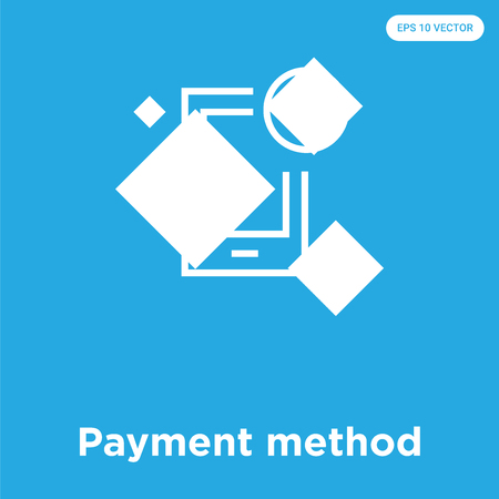 Payment method vector icon isolated on blue background, sign and symbol, Payment method icons collection Illustration