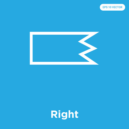 Right vector icon isolated on blue background, sign and symbol, Right icons collection