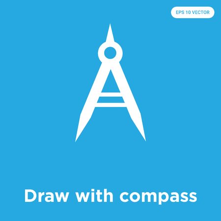 Draw with compass vector icon isolated on blue background, sign and symbol, Draw with compass icons collection