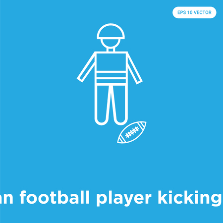 American football player kicking the ball vector icon isolated on blue background, sign and symbol, American football player kicking the ball icons collection Illustration