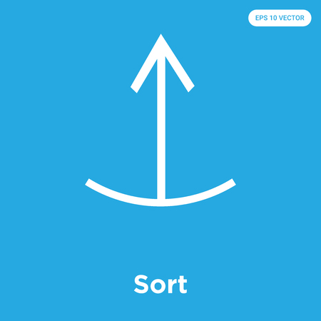 Sort vector icon isolated on blue background, sign and symbol, Sort icons collection